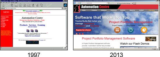 Acentre.com 1997 vs. 2013