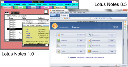 Lotus Notes 1.0 vs 8.5